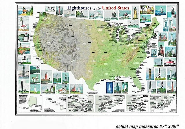 Lighthouses Of The U S Wall Map 10 95